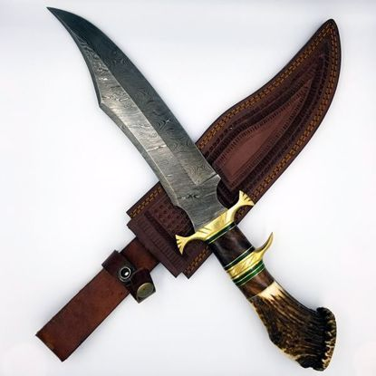 Damascus Bowie Knife w/sheath