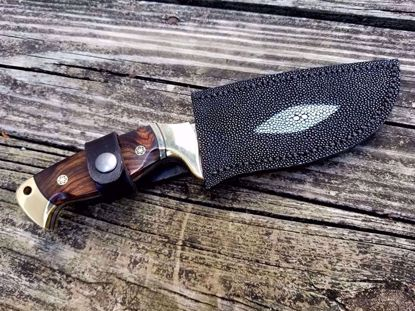 "Custom 10"" Damascus Skinner Knife w/Genuine Stingray Leather Sheath"