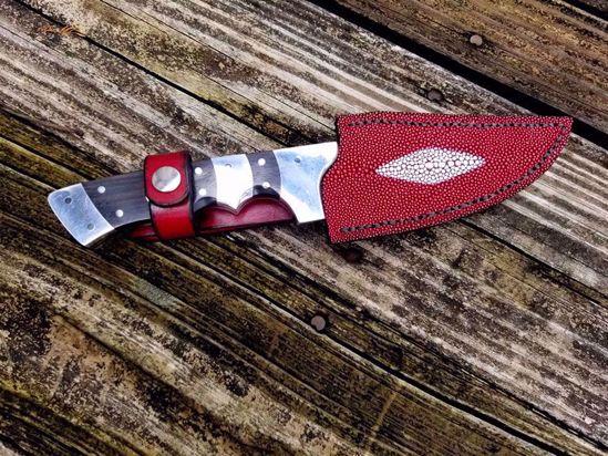 "Custom 9"" Damascus Hunting Knife w/Genuine Stingray Leather Sheath"